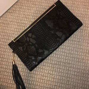 Faux Reptile Print Clutch with Chain Strap